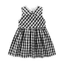 Kimocat Summer girls Dress Buttons on the back sleeveless Turn-down Collar Pure cotton Plaid likable girls clothes kids dresses girls zip back raw hem plaid dress
