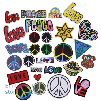 New arrival Love Peace label Embroidered patches iron on cartoon Motif Applique Clothing hat shoe bag decor embroidery accessory embroidery