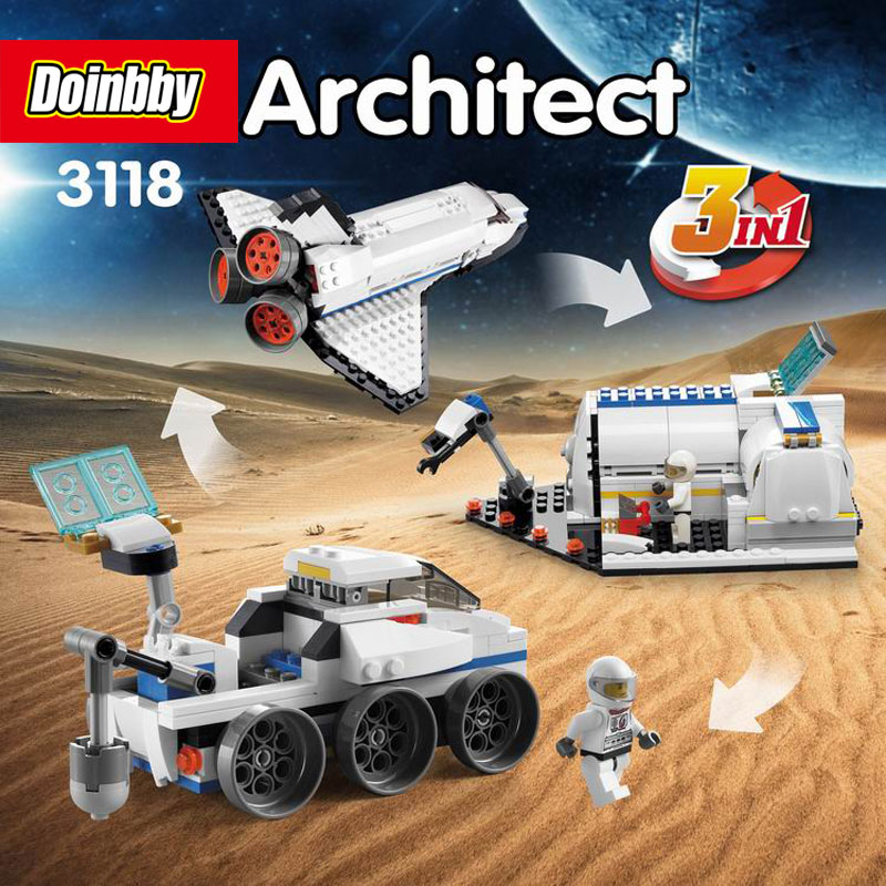 Decool 3118 City 285Pcs Architect Changed 3 in 1 Space Shuttle Explorer Building Block DIY Toys Educational Kids Gifts decool 3118 city 285pcs architect changed 3 in 1 space shuttle explorer building block diy toys educational kids gifts