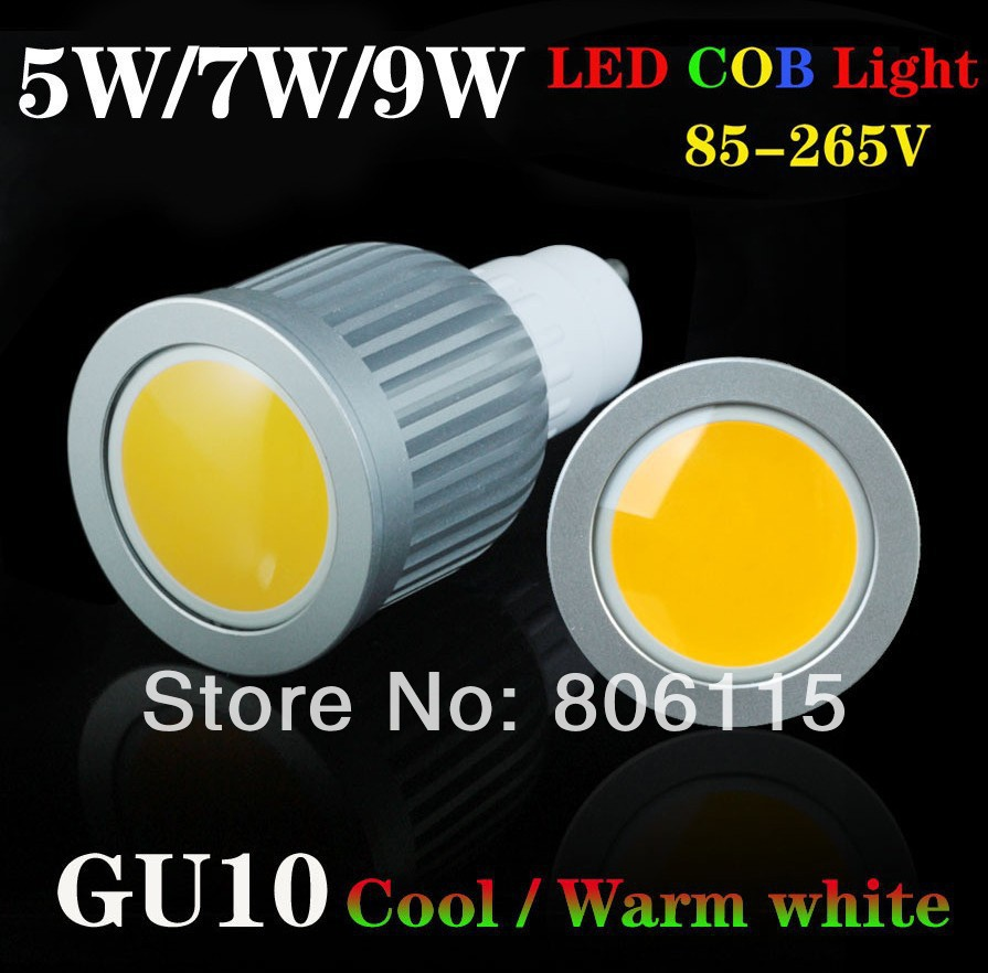 6pcs lot gu10 5w 7w 9w cob led spot light support dimmer warm white cool white high brightness. Black Bedroom Furniture Sets. Home Design Ideas
