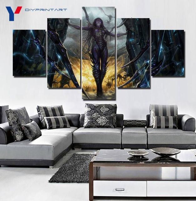 StarCraft 2 Heart of The Swarm Game Poster 5 Panels Art Painting Living Room Decoration A0096 5