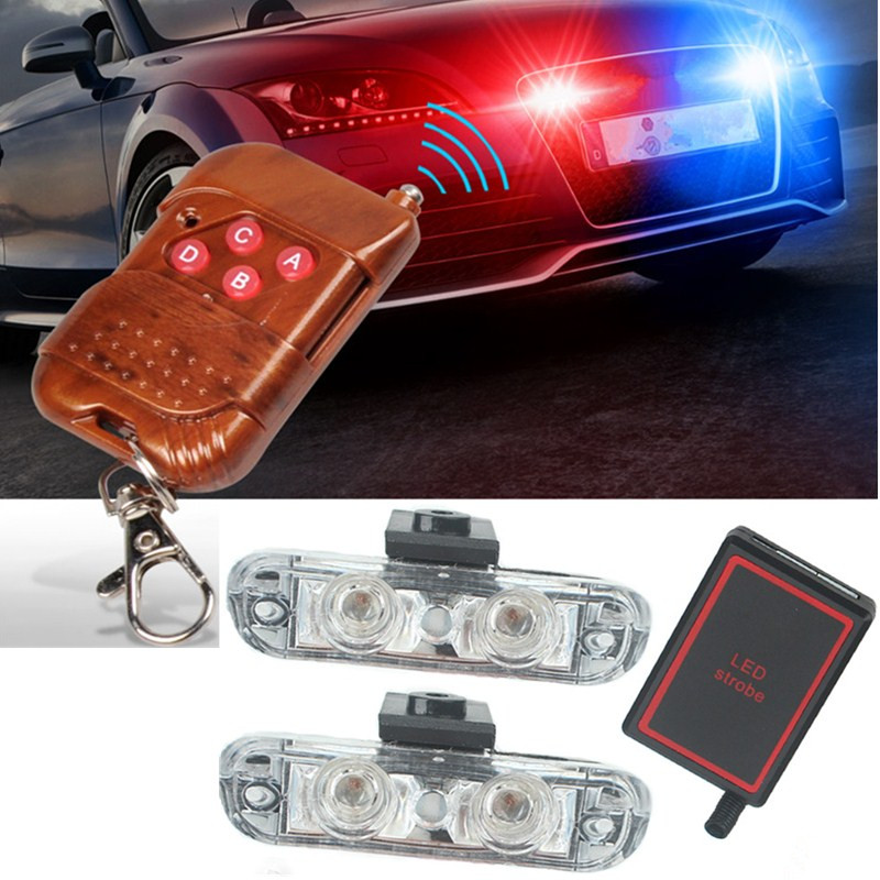 New 1Set DC 12V 2 LED Wireless Remote Flash Controller Car Truck Police Light Red and Blue Flashing Strobe led LED Warning Light ltd 5092 warning light police car led warning light round 5w strobe red blue flashing factory dc12v dc24v