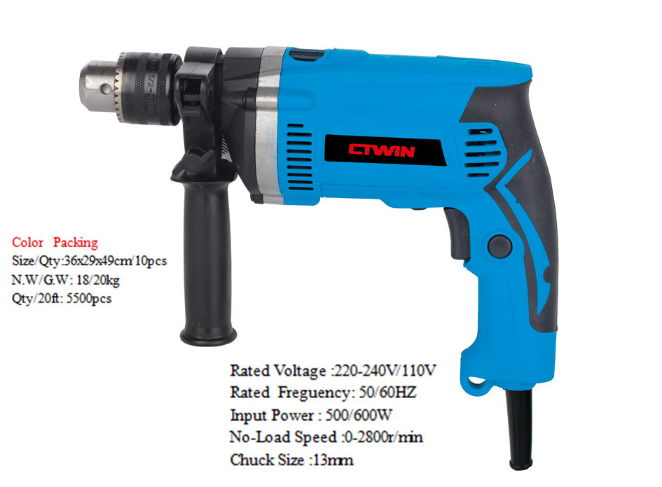 Impact Drill Power Tools Electric Drill 600W Power Industrial Reversing Speed Hand Drill Steel Structure Engineering Tools набор автомобильных 3d ковриков novline autofamily для kia soul 2014 в салон 4 шт