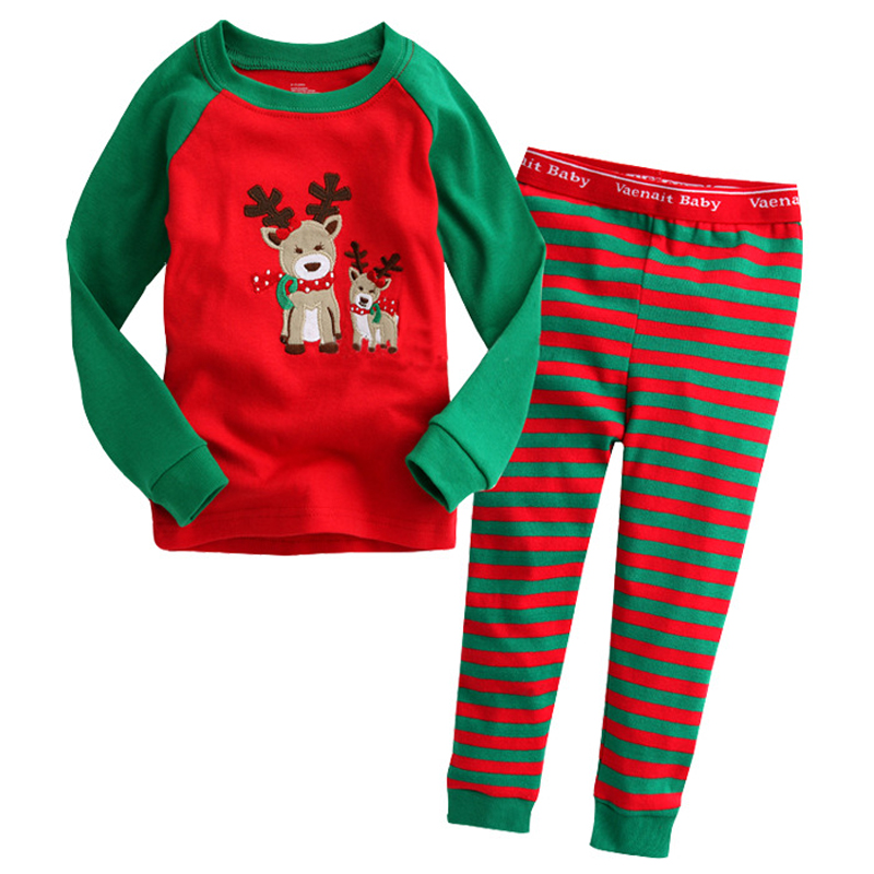 2017 Christmas Kids Pajama Sets High quality Christmas Pajamas 2-7Yrs Baby Boys Girls Clothes Milu Deer Children Clothing Sets