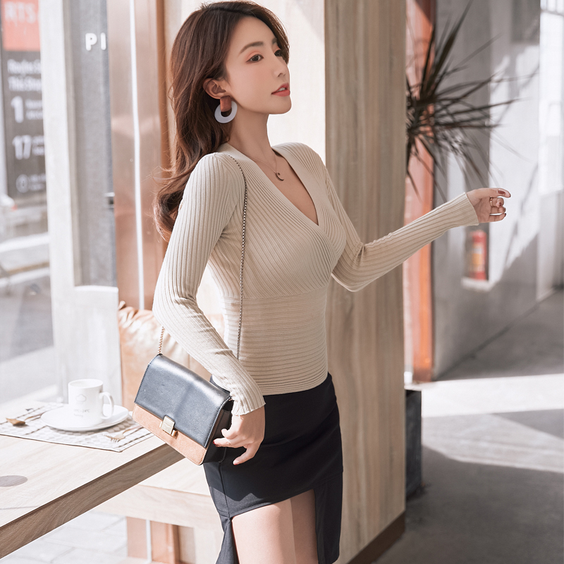 2019 New Sexy Deep V Neck Sweater Women s Pullover Casual Slim Bottoming Sweaters Female Elastic