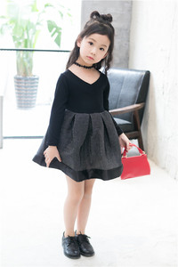 Image 4 - 2018 אביב אופנה ילדה נסיכת שמלת מסיבת חתונה שמלות ילד קוריאני שחור Shoulderles ארוך שרוולים רשת נסיכת שמלת 2 7Y