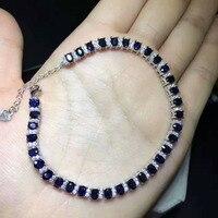 Натуральный черный синий сапфир камень браслет природный драгоценный браслет S925 серебро Мода роскошный круглый женщин партии ювелирных из