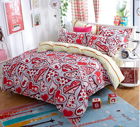 Reactive printing personality polyester varieties of red love heart soft comfortable warm home textile with double pillow cases