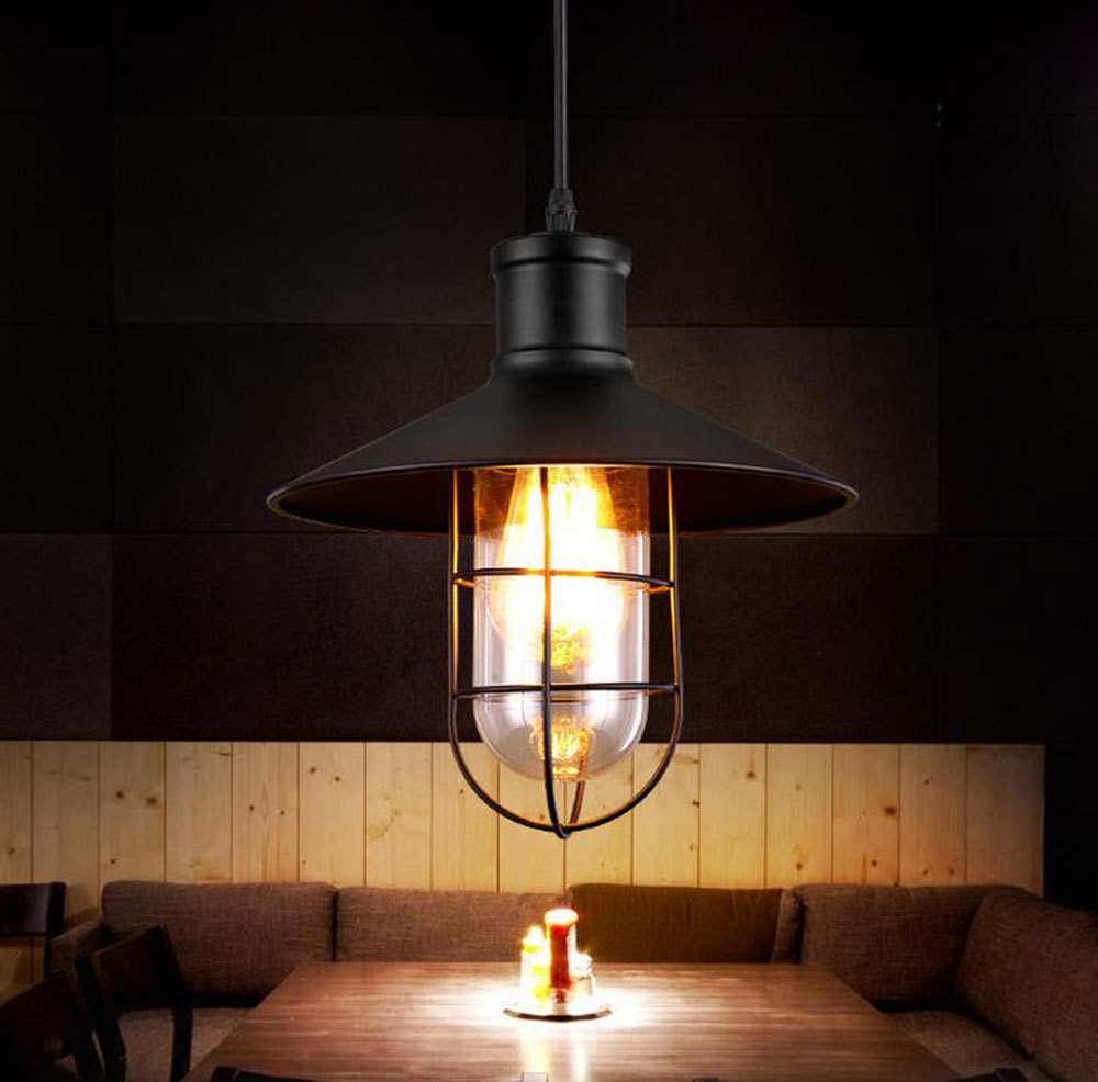 Vintage Pendant Light Industrial Edison Lamp American Style With Cage E27 Iron Base  Coffee Bar Restaurant Kitchen Lights
