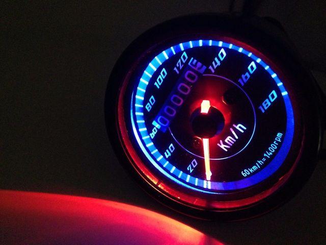 Black LED Motorcycle Odometer KMH Speedometer Gauge Cafe Racer Old School VT VTX