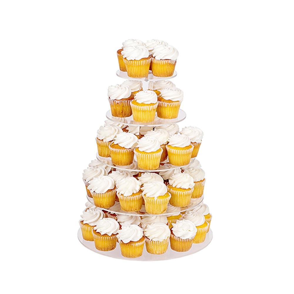 뜨거운 조립 케이크 홀더 라운드 아크릴 3/4 계층 컵 케이크 케이크 스탠드 장식 생일 도구 파티 스탠드