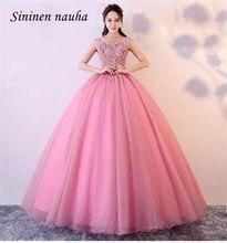 Rosa 2019 quinceanera baile de formatura vestidos de festa boné manga renda apliques dança vestido de baile vestidos de 15 anos doce 16 vestidos 331