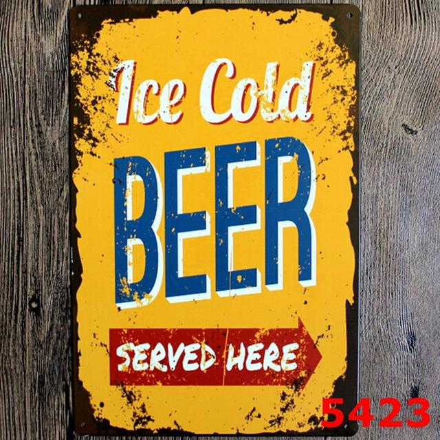 Ice cold beer served here! vintage metal signs retro tin plate sign iron painting decor & Ice cold beer served here! vintage metal signs retro tin plate sign ...