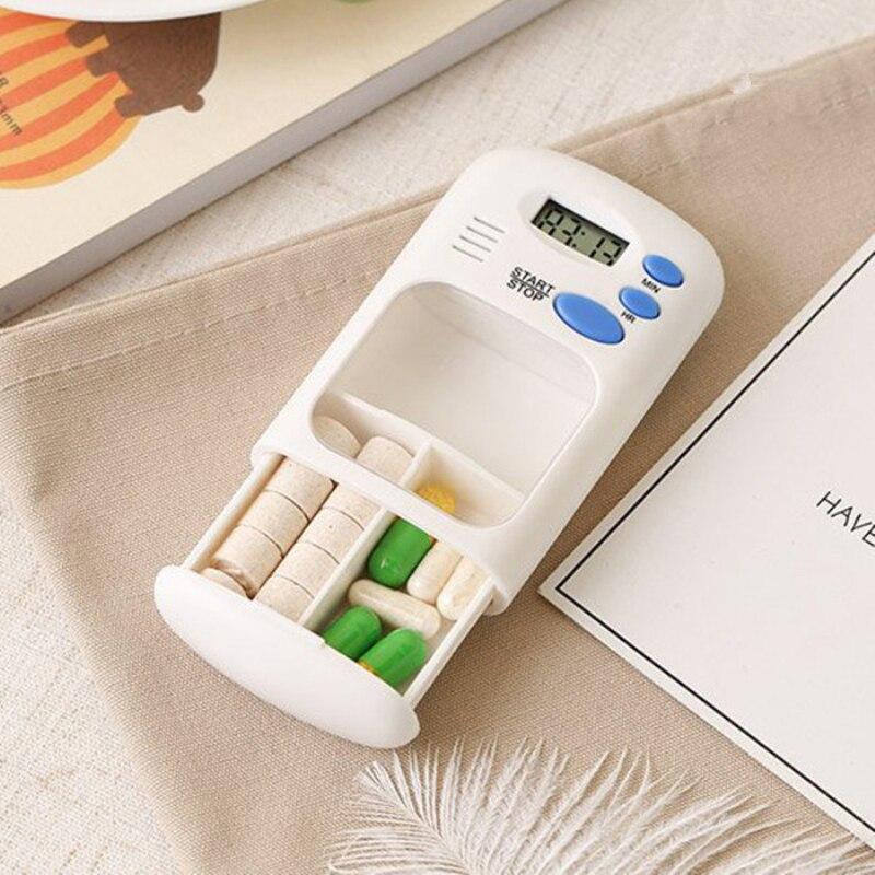 Мини Портативная таблеточная сигнализация таймер электронный ящик Органайзер светодиодный дисплей Будильник Напоминание маленький аптеч...