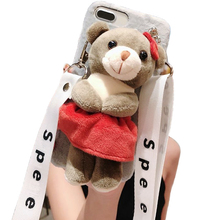 Cartoon Doll Toy Bear Phone Case, 3d Cute Stripes Plush Strap Soft Cover with Bracket Stand for 6 6s Case