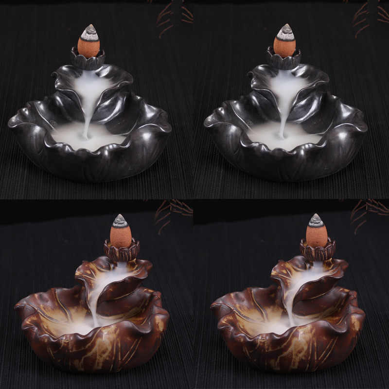 Classice ручной работы Керамика конусов Ладан горелки лотоса кадило конусов для дыма Backform как вода текли ремесла домашнего декора