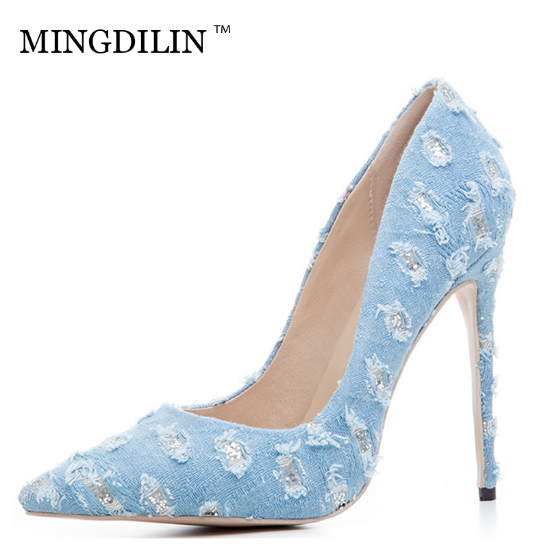 MINGDILIN Denim Women's High Heels Shoes Plus Size 33 43 Sexy Woman Shoes Blue Pointed Toe Wedding Party Pumps Stiletto 2018 annymoli peep toe gladiator shoes women pumps denim high heels cutout stiletto zip thin heels party shoes blue large size 33 43