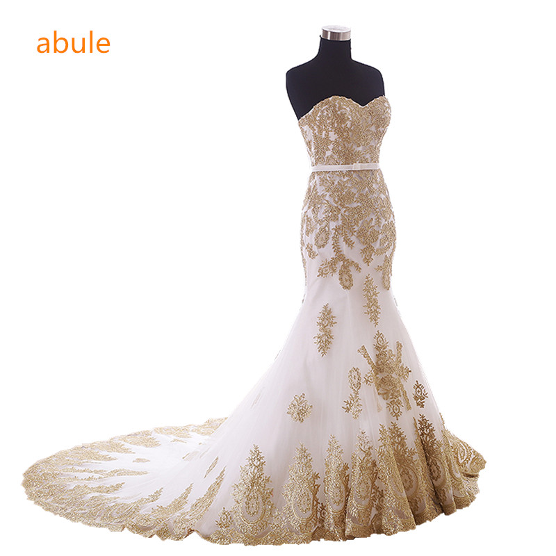 abule 2018 Wedding Dress summer customer real poto White Beading Gold Lace Up Custom Made Bridal Gown Vestido De Noiva