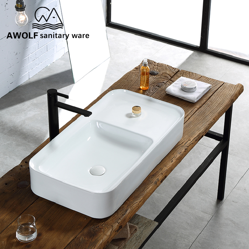 Art Bathroom Sinks White Matte Black Ceramic Vessel Washing Basin