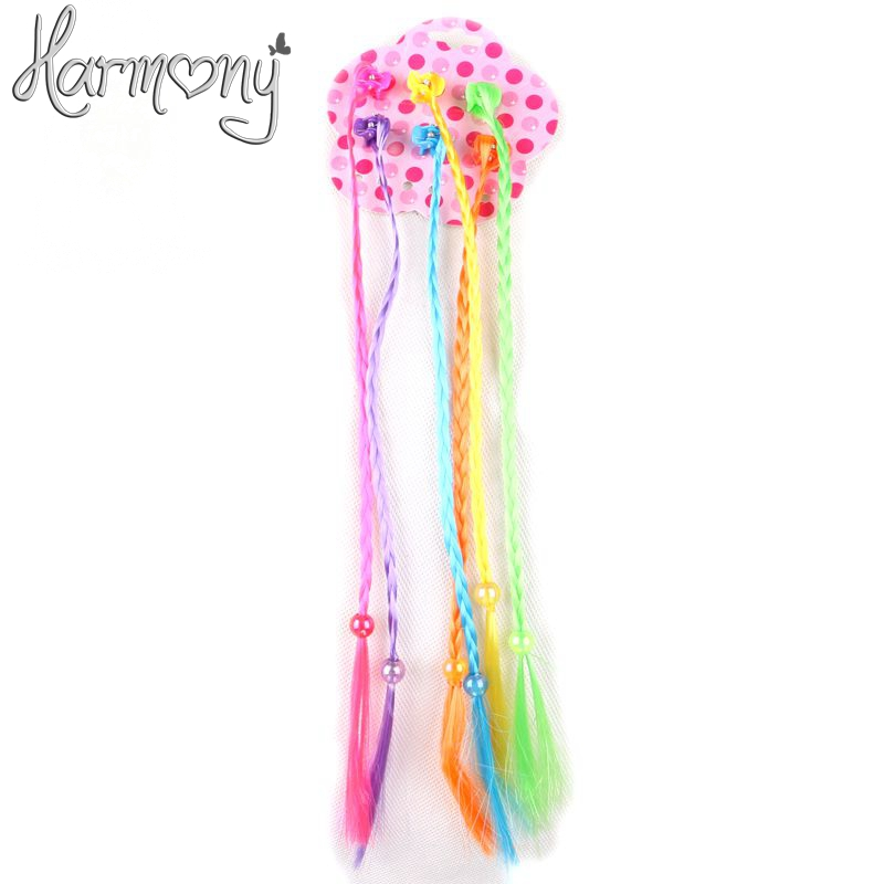 Free shipping! 1pack 6pcs colorful synthetic braided small box braids with plastic small claw clip for kids girls