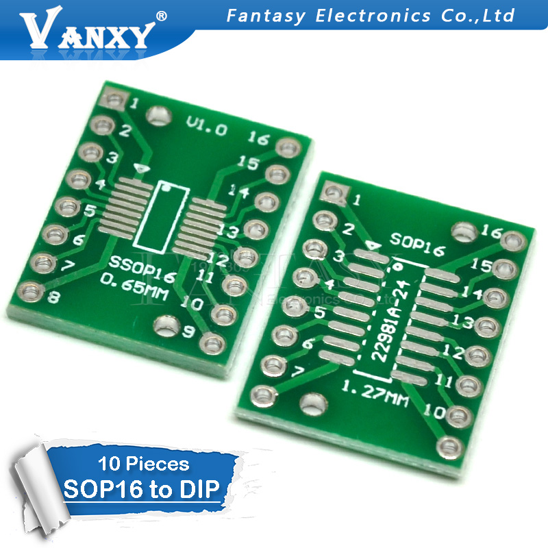 10PCS TSSOP16 SSOP16 SOP16 To DIP16 Transfer Board DIP Pin Board Pitch Adapter PCB