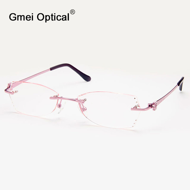 Gmei Optical Q5820 Rimless Diamond Cutting Eyeglasses Frame for Women Eyewear Glasses