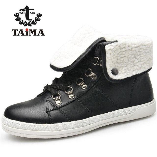 Taima marca novo inverno chegada botas de pele quente botas de neve do tornozelo das mulheres da forma senhoras negras sapatos de inverno das mulheres do estilo