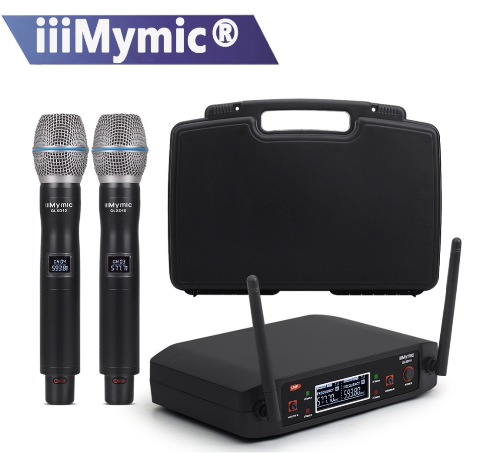 iiiMymic GLXD10 Fixed UHF500 600Mhz Frequency Dual Meta Handheld Transmitter Vocal Wireless Microphone System with Plastic
