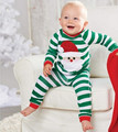 Baby Boys Girls Santa Claus Clothing Pajamas Set Home Wear Green Striped T Shirt + Trousers Kid Christmas Suit Two Piece