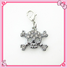 Hot selling 20pcs/lot rhinestone skull dangle charms for glass memory floating lockets lobster clasp charms diy jewelry