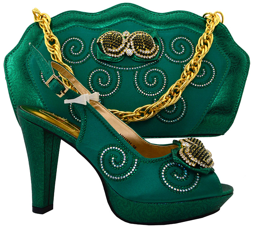 ФОТО 2016 New arrival Italian shoes with matching bags set for GREEN color,African shoes and bag sets size 37-43 HFC1-7