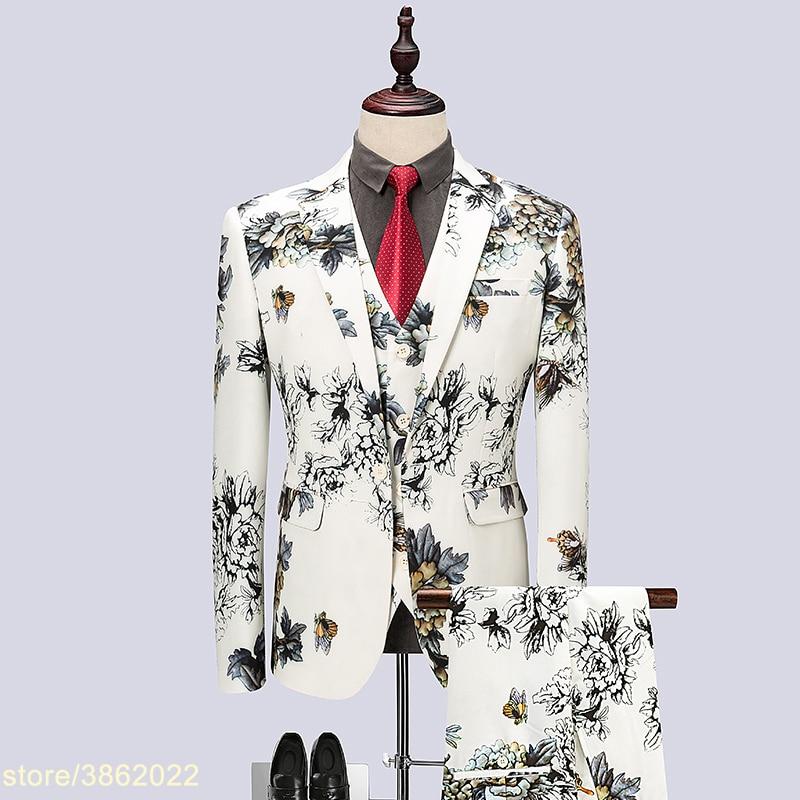 /(Jacke + hosen/) männer Anzug Chinesischen Stil Stickerei Sets Männlichen Sänger Team Chor Bühne Outfit Bar Host Hochzeit Bräutigam Kleid Kostüm