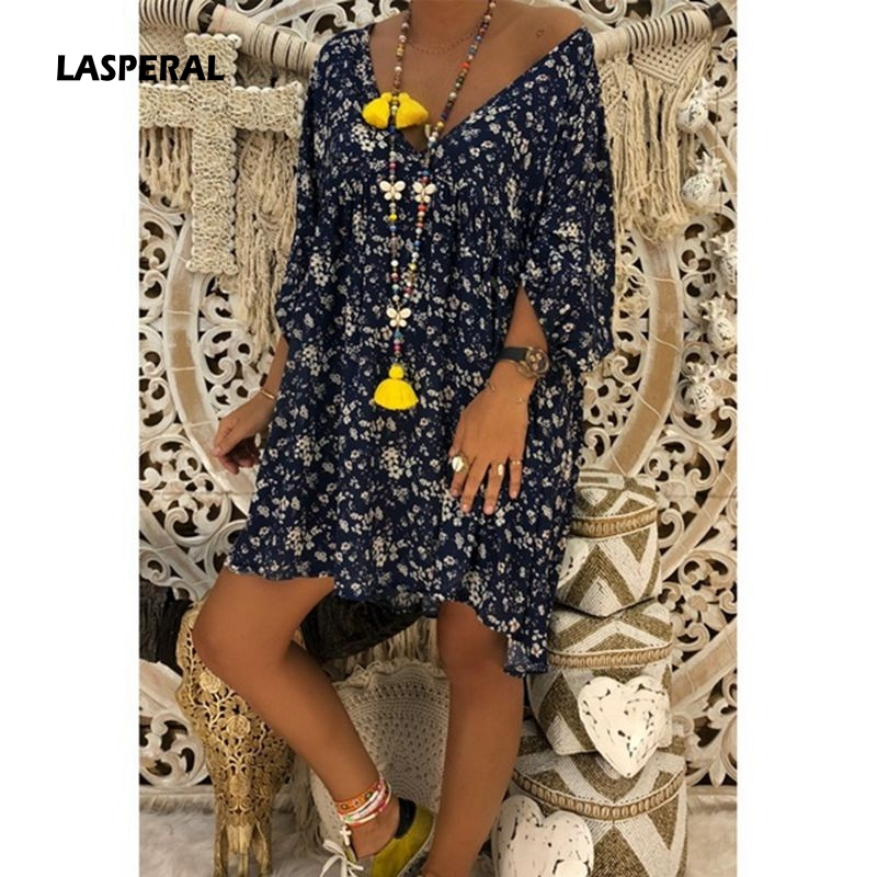 5e9068963 LASPERAL 2019 Women Dress Spring Summer Long Sleeve Dress V Neck Casual  Loose Dresses Floral Printing