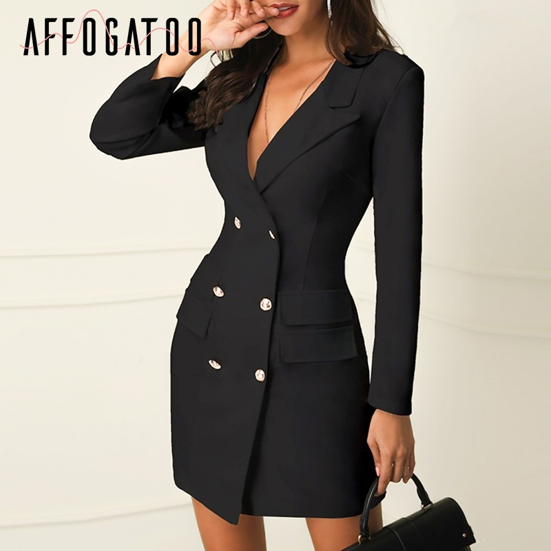 Affogatoo Elegant black women blazer dress short Office long sleeve dress plus size Double breasted white suit ladies dress 2019 белая рубашка с объемными рукавами и вырезом