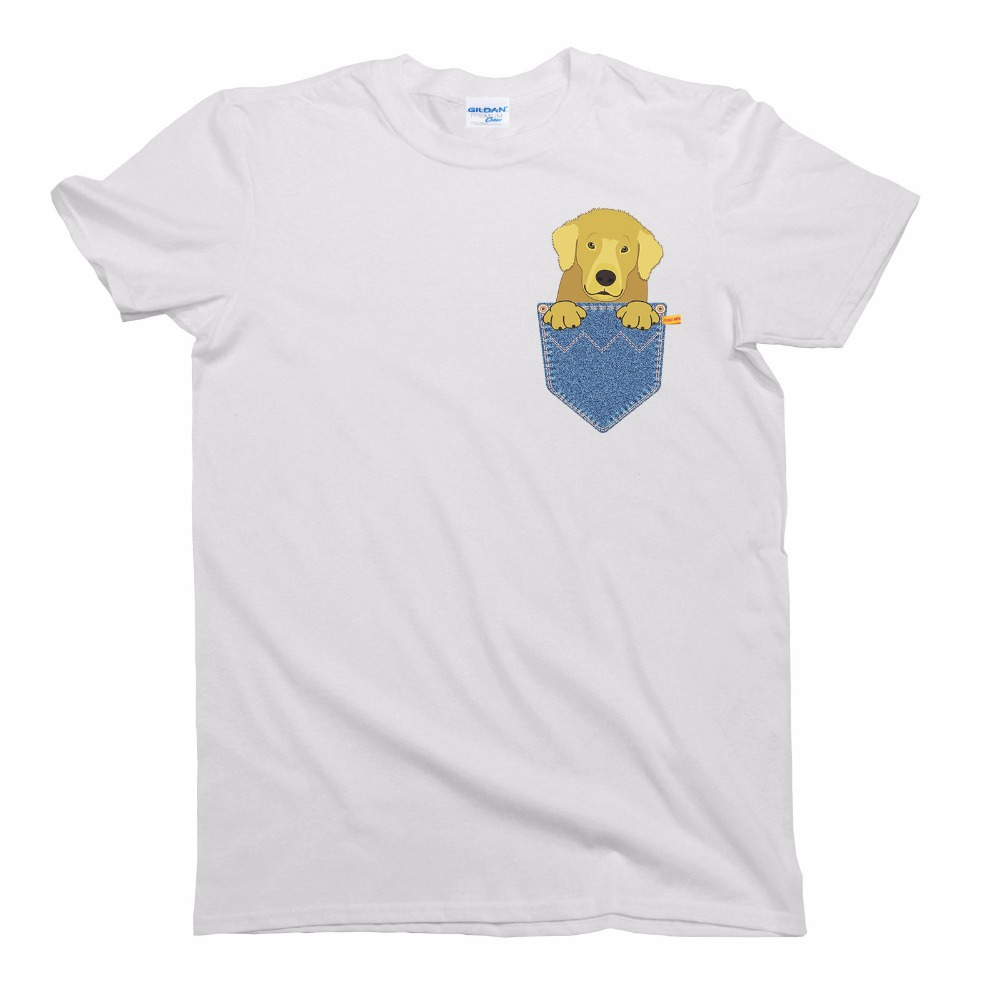 Us 12 74 15 Off Design T Shirts Casual Cool Golden Retriever Gift Pocket Dog Birthday Shirt Mens Las Uni Fit Short Sleeve Tee In