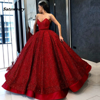 Dark Red Lace Sequins Evening Dresses V Neck Floor Length Ball Gown Formal Women Prom Gowns Elegant Long Party Dresses Lace Up