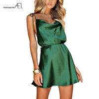 AEL Green Spaghetti Strap Sexy Satin Short Dress 2018 Sandbeach Holiday Chic String Waist Ladies Quality Clothing