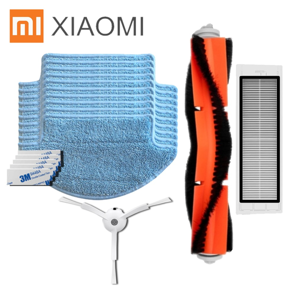 2018NEWEST Replacement for Xiaomi Mi Robot Vacuum Cleaner parts main roll brush HEPA filter side brush mop Cloths magic paste hepa filter side brush main brush mop cloths kits for xiaomi mi robot roborock vacuum cleaner spare replacement parts