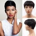 Преобладающие Короткие Человеческие Волосы Эльфа Вырезать Монолитным Парики Для Женщин Отсутствует Парик Шнурка Малайзии Девы Волос Естественная Прямая На Продажу