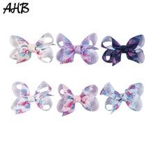 AHB 3 Cute Small Hair Clips for Baby Girls Bows with Alligator Cartoon Flamingo Print Bowknot Hairpins Kids Headwear