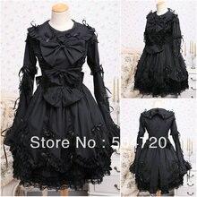 V-1039 Schwarz langarm Gothic Lolita Kleid/viktorianischen kleid Cocktailkleid/halloween-kostüm US6-26 XS-6XL