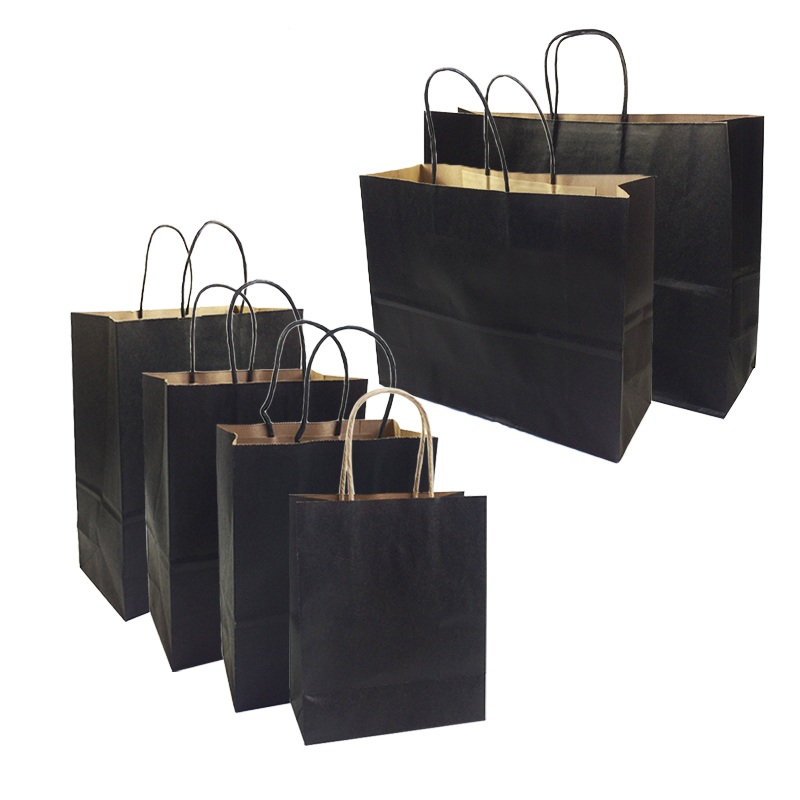 10 Pcs lot Gift Bags With Handles Multi function High end Black kraft Paper Bags 6 Size for Shops Party Gifts Clothes shoes in Gift Bags Wrapping Supplies from Home Garden