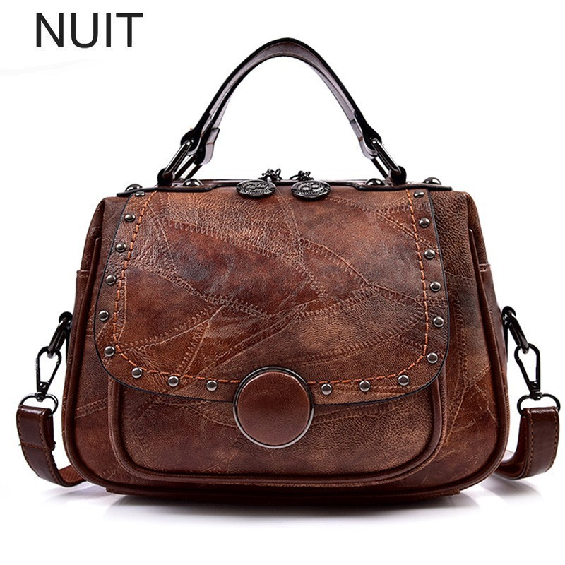 купить Big Women Handbags Vintage Casual Women PU Leather Rivet Design Shoulder Brand Bags Female Ladies Messenger Crossbody Hand Bag онлайн