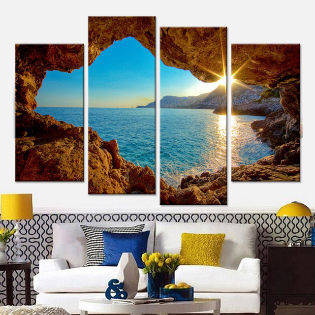 Seaside Cave Set Canvas Wall Art Poster Modular Pictures for Wall ...