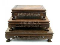Large Sets Of Three Red Wood Crafts Wenge Rectangular Odd Jade Bonsai Flower Wood Base Kang