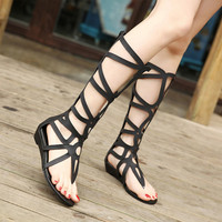 Summer Boots cut out women Booties Roma Wedges Shoes Knee Boots Women Sexy Dress Shoes Gladiator Sandal Women thigh Boots ZH062