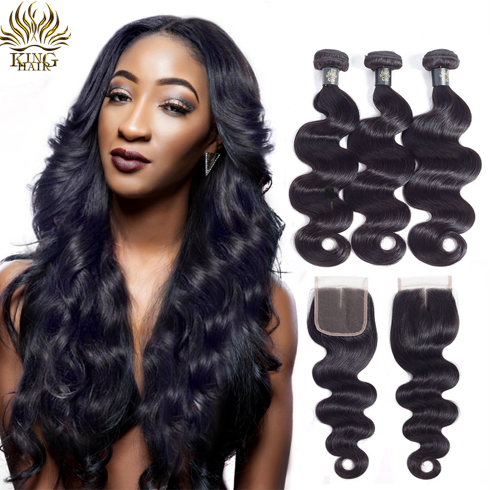 King Hair Body Wave 3 Bundles With Closure Peruvian Hair Bundles With Closure Remy Hair 4Pcs