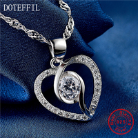 New Fashion 925 Sterling Silver Women Necklace Charming Heart Pendant Necklace AAA Zircon Silver Jewelry