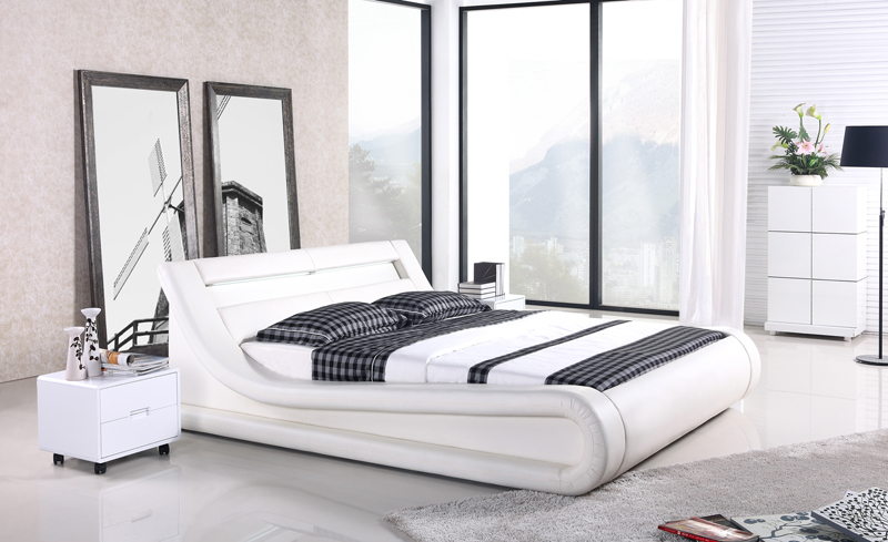 remote control contemporary modern leather LED bed King size bedroom furniture Made in China led remote control audio contemporary modern leather sleeping bed king size bedroom furniture made in china
