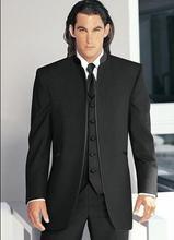 Naujas pagal užsakymą pagamintas 2018 juodo stogo apykaklės grožis Tuxedos geriausio vestuvių groomsman vyrų vestuvių kostiumai (striukė + kelnės + liemenė)